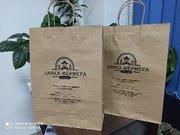 Бумажные белые и крафтовые с логотипом пакеты Алматы.Акция